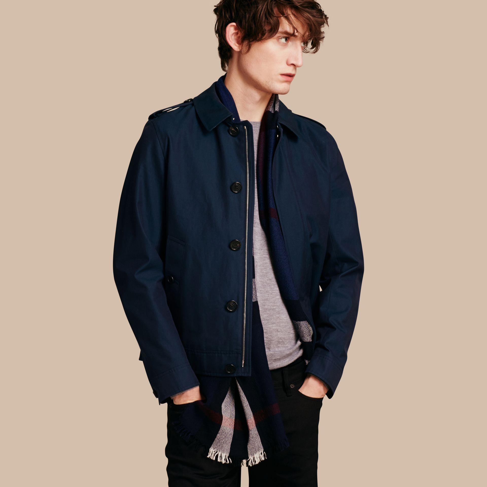 Flint blue Cotton Gabardine Jacket Flint Blue - gallery image 1