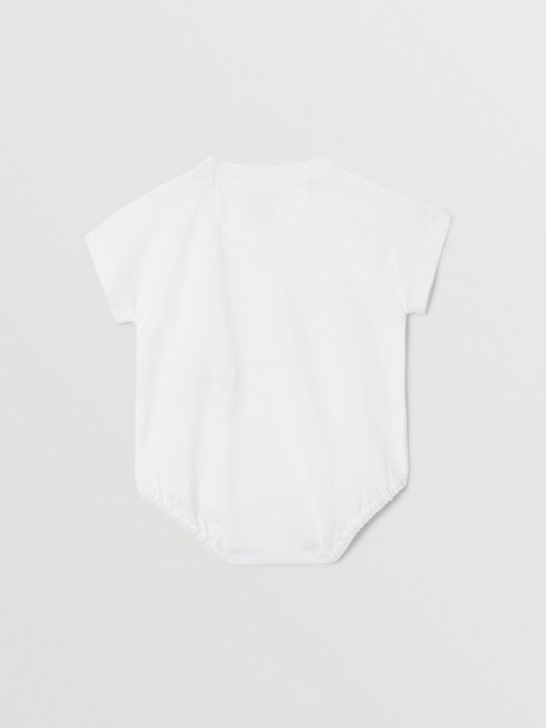 Deer Print Cotton Bodysuit in White - Children   Burberry United States - cell image 3