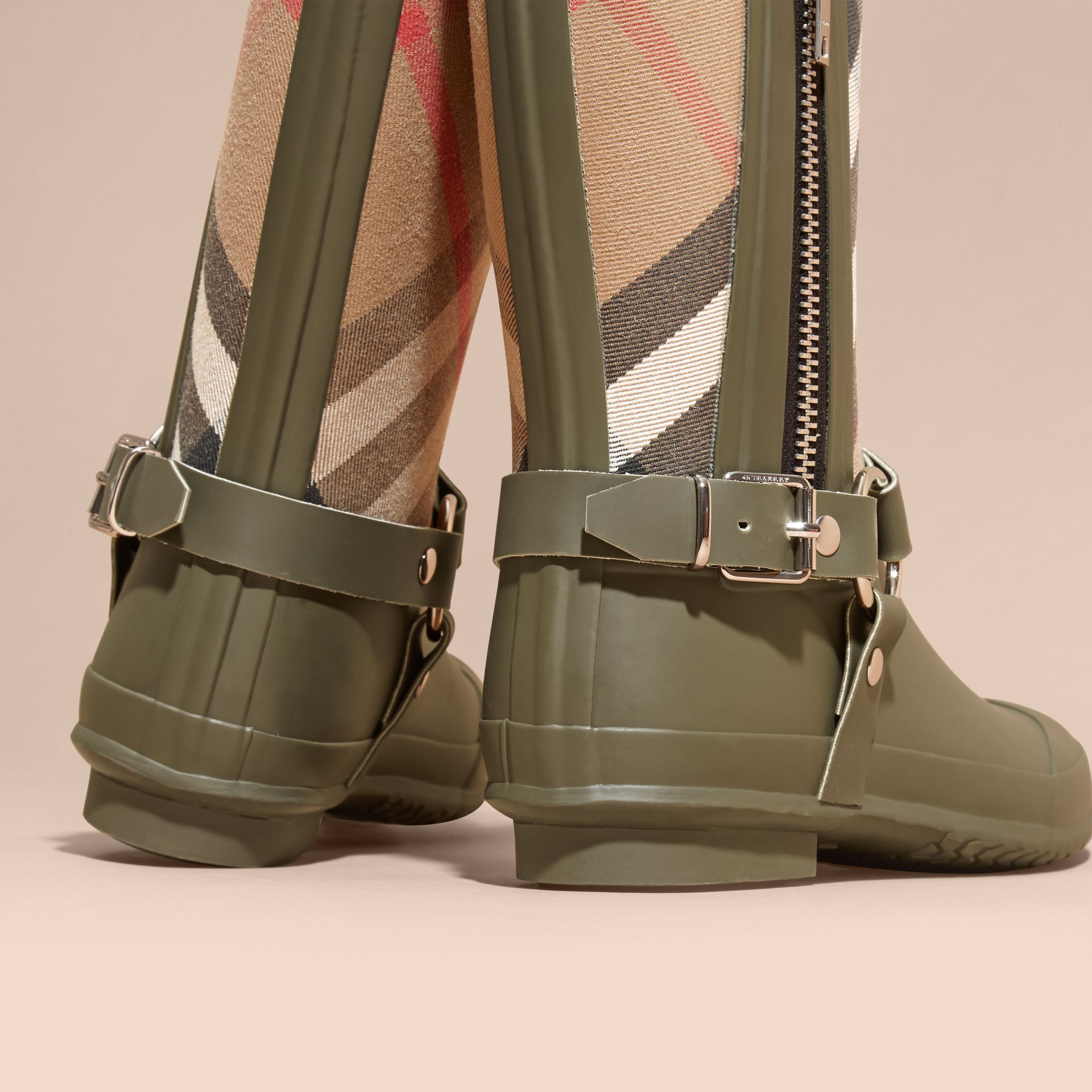 Buckle and Strap Detail Check Rain Boots House Check/military Green - gallery image 4