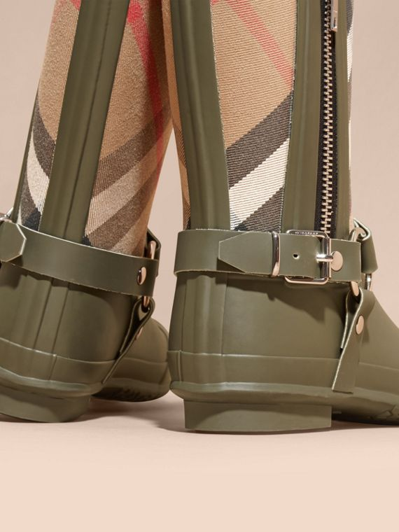 Buckle and Strap Detail Check Rain Boots House Check/military Green - cell image 3