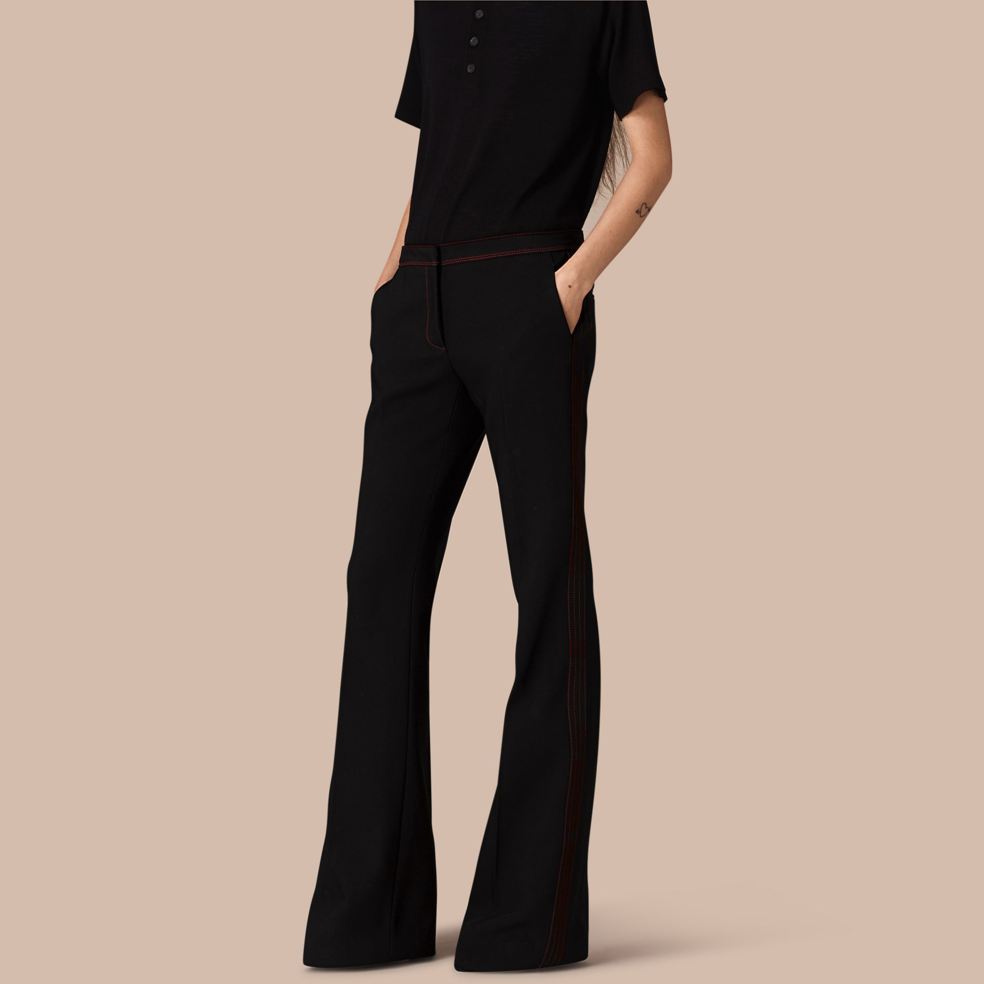Black Stretch Boot-cut Trousers - gallery image 1