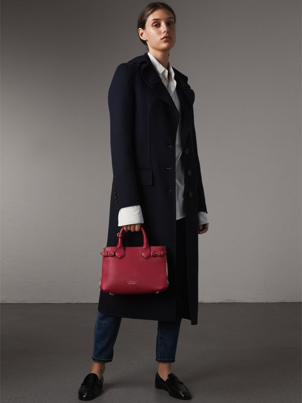 The Small Banner in Leather and House Check in Russet Red - Women | Burberry - cell image 3