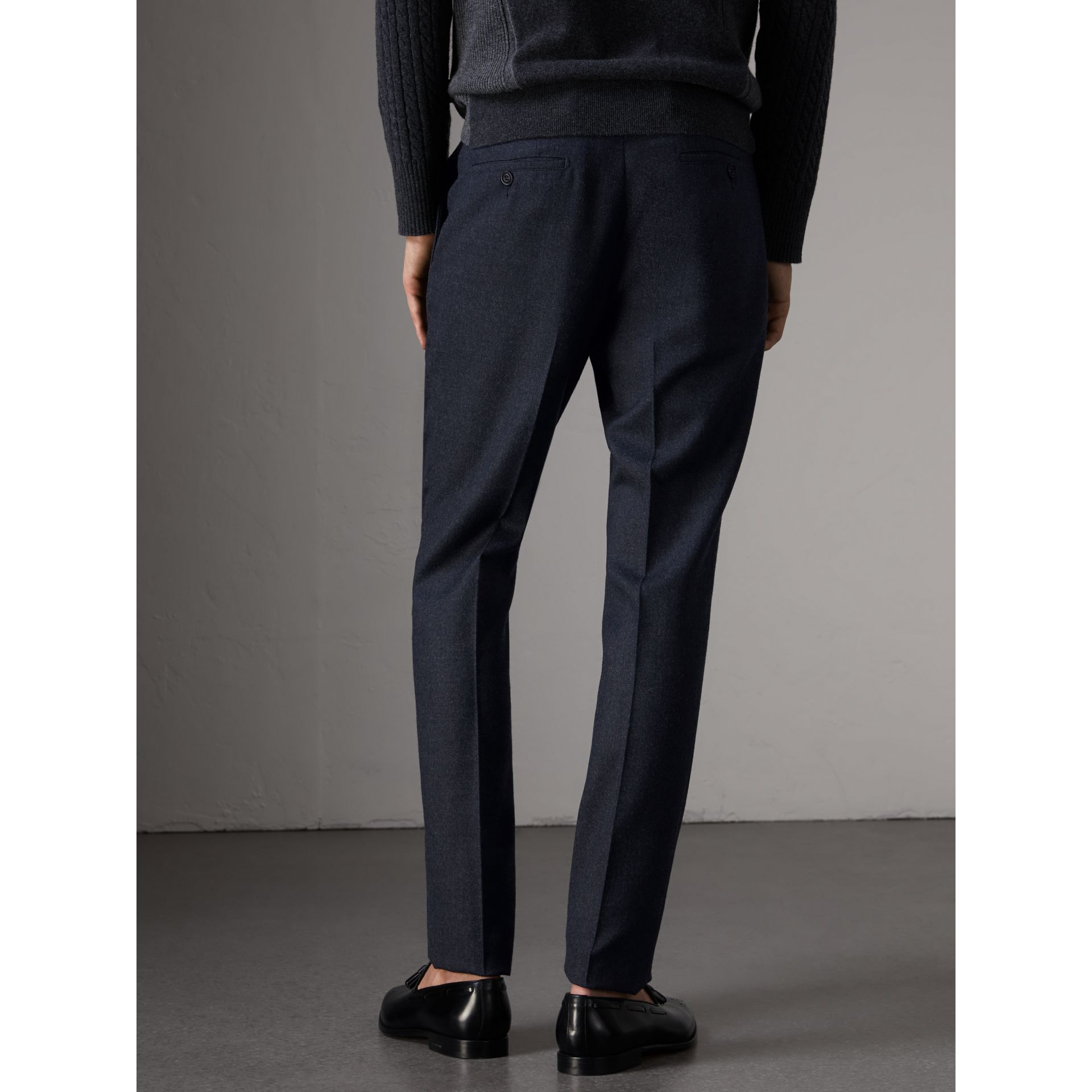 Wool Tailored Trousers in Navy - Men | Burberry - gallery image 3