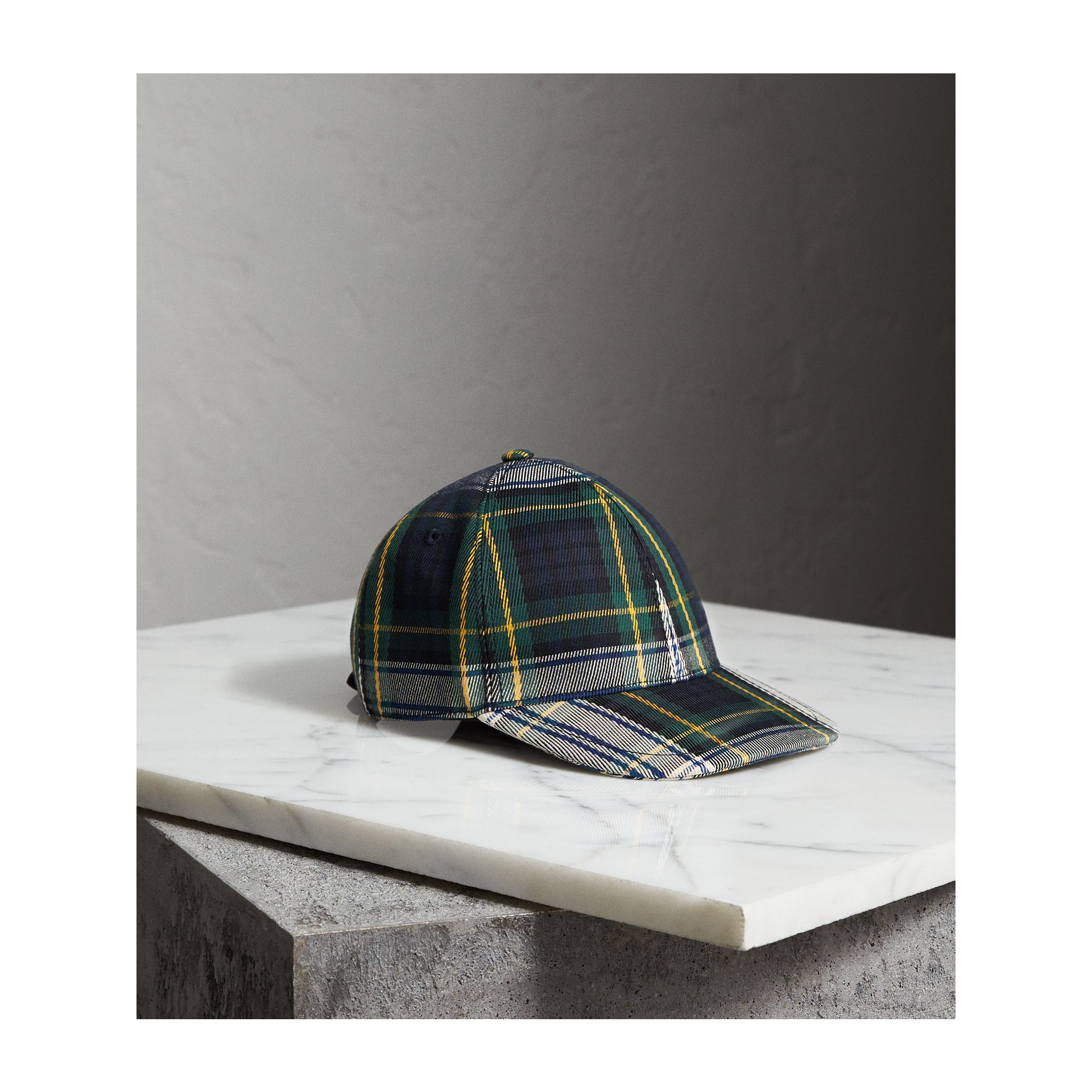 Tartan Baseball Cap in Ink Blue | Burberry - gallery image 1