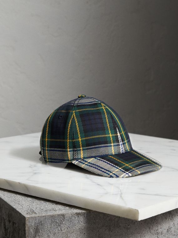 Tartan Baseball Cap in Ink Blue