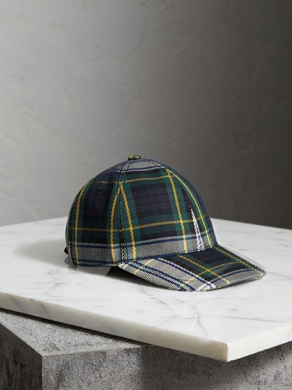 Gorra de béisbol a cuadros escoceses (Azul Tinta)