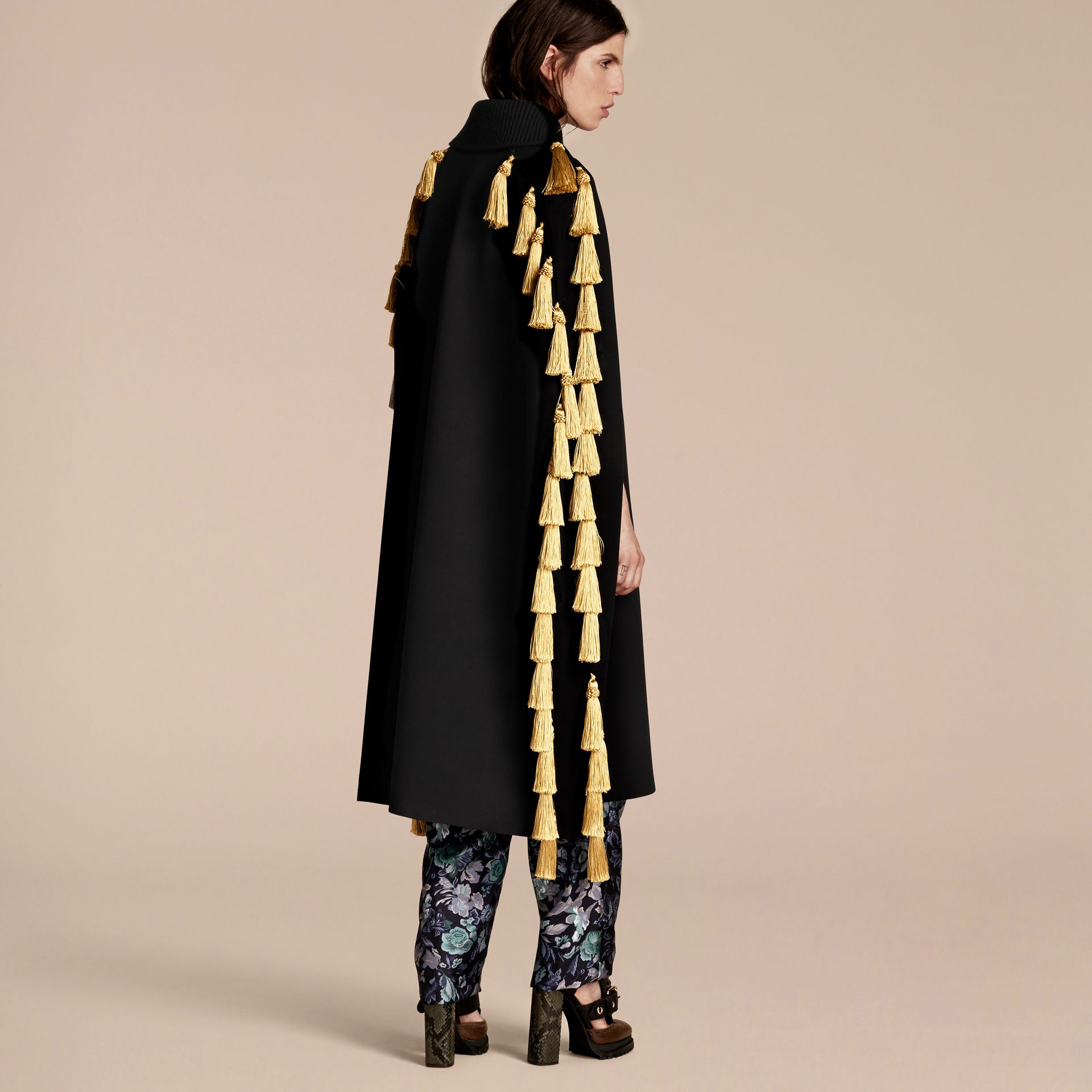 Wool Blend Military Cape with Tassels - gallery image 3
