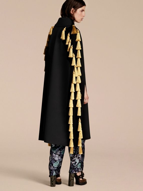 Black Wool Blend Military Cape with Tassels - cell image 2