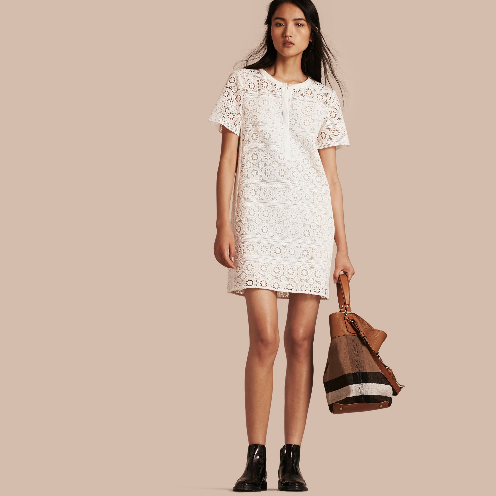 Natural white Cotton Lace Shirt Dress - gallery image 1