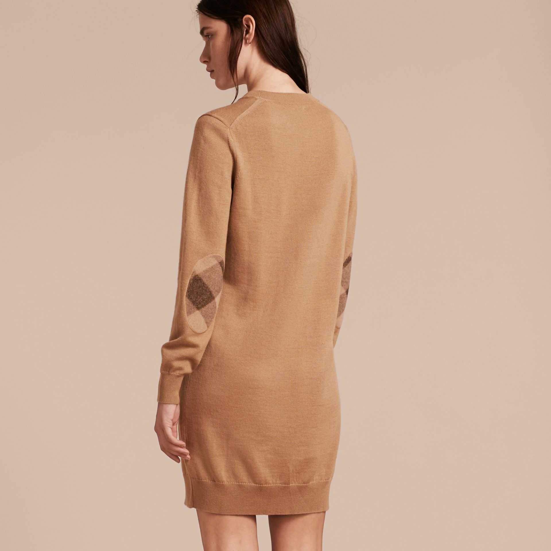 Check Elbow Detail Merino Wool Sweater Dress in Camel - gallery image 3