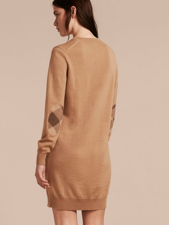Check Elbow Detail Merino Wool Sweater Dress Camel - cell image 2