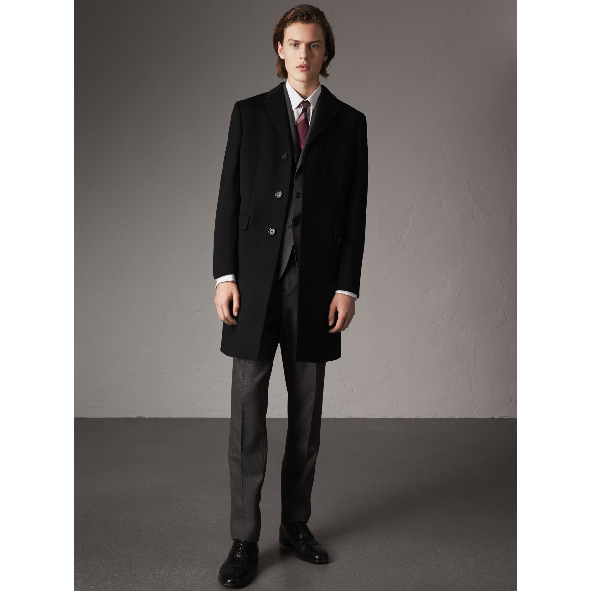 Wool Cashmere Tailored Coat in Black - Men | Burberry United Kingdom - gallery image 1