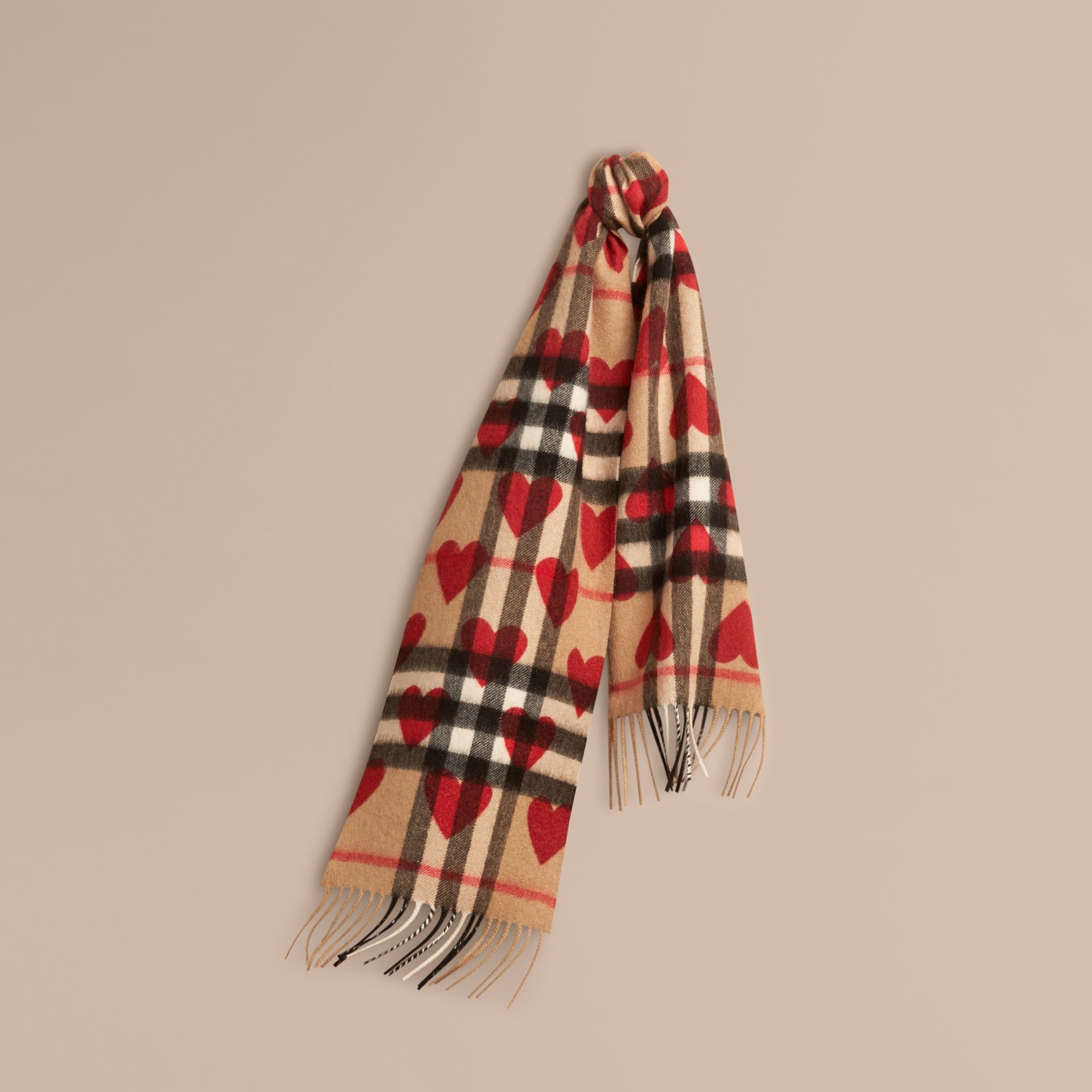 The Mini Classic Cashmere Scarf in Check and Hearts in Parade Red | Burberry - gallery image 5