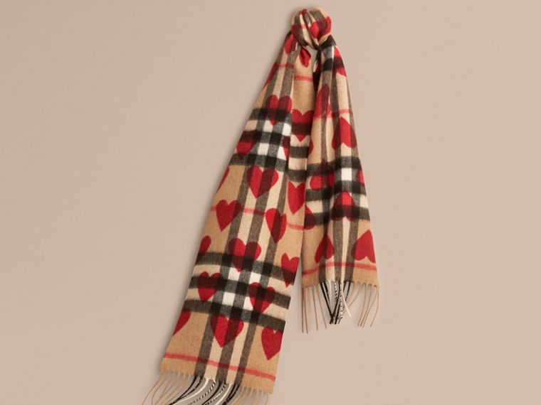 The Mini Classic Cashmere Scarf in Check and Hearts in Parade Red | Burberry - cell image 4