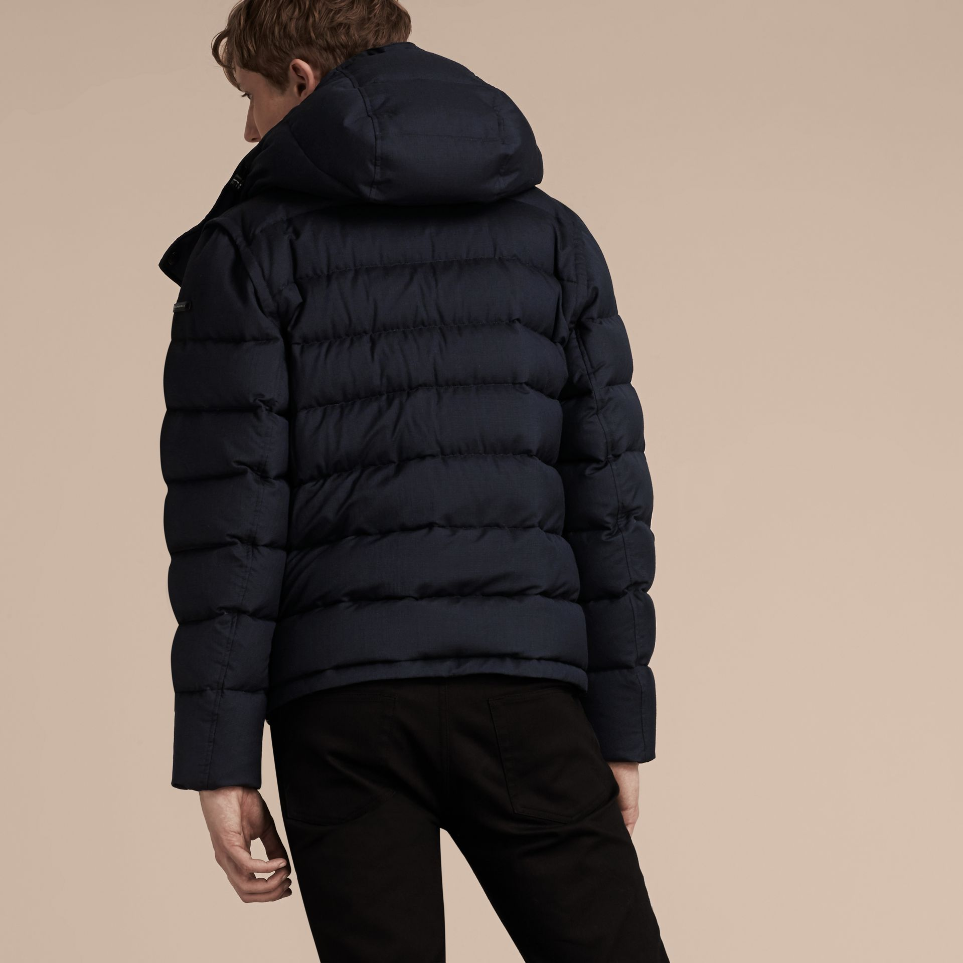 Navy Down-filled Silk Wool Puffer Jacket - gallery image 3