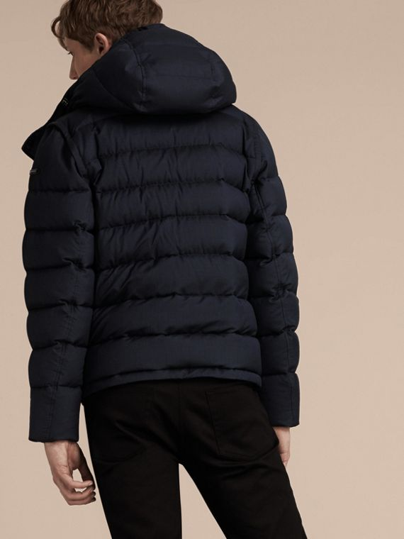 Navy Down-filled Silk Wool Puffer Jacket - cell image 2