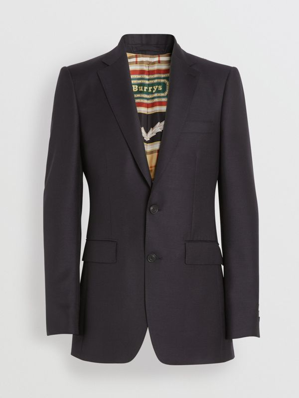 Slim Fit Wool Mohair Tailored Jacket in Black - Men | Burberry - cell image 2
