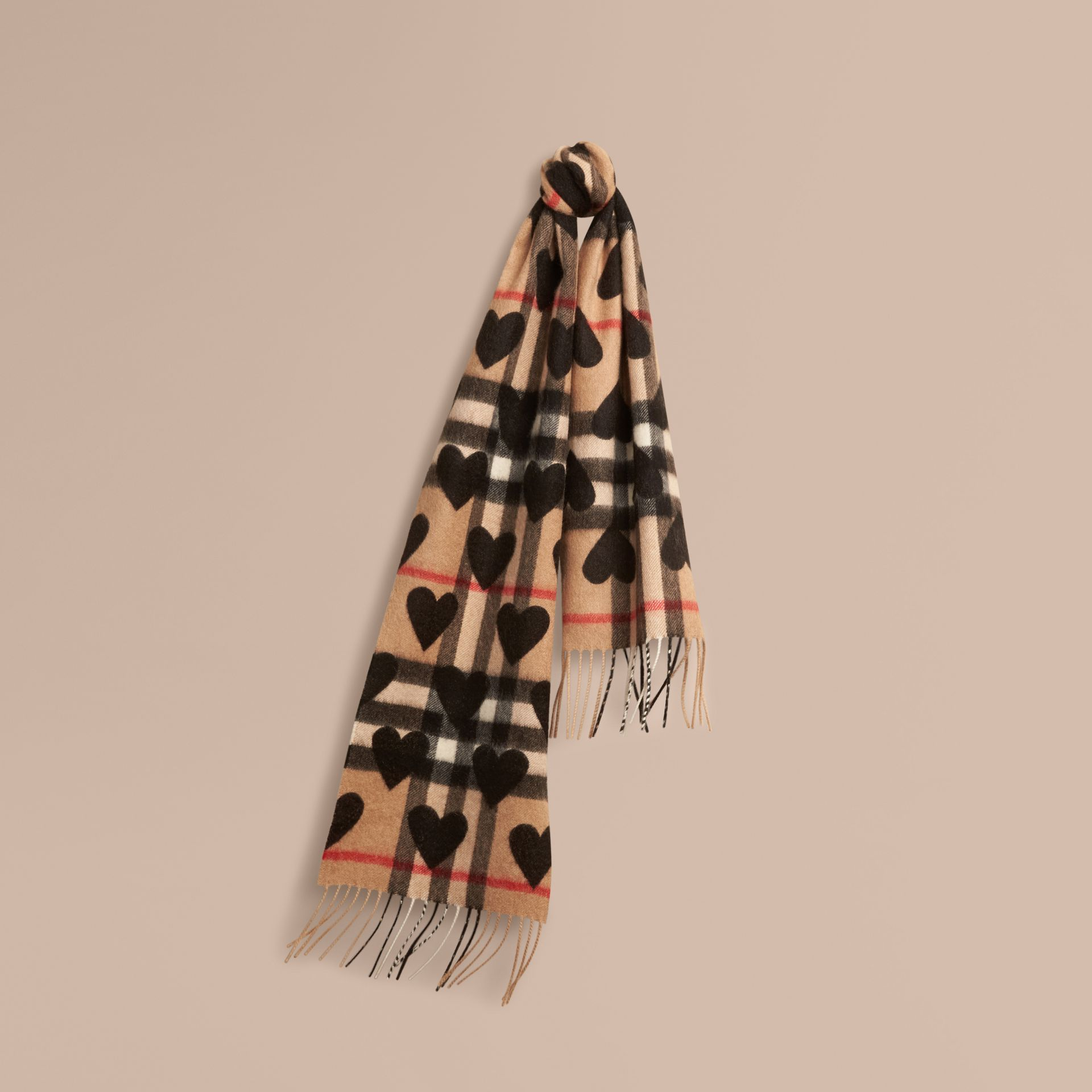 The Mini Classic Cashmere Scarf in Check and Hearts in Black | Burberry - gallery image 5