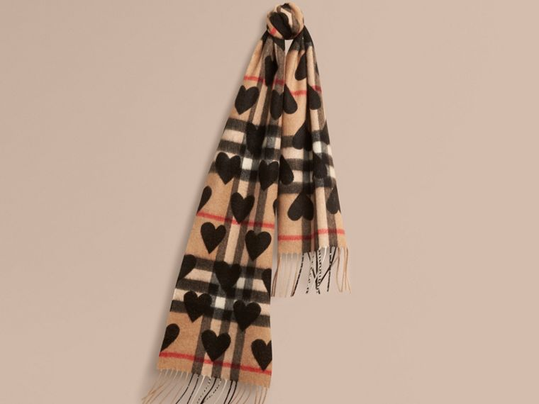 The Mini Classic Cashmere Scarf in Check and Hearts in Black | Burberry - cell image 4