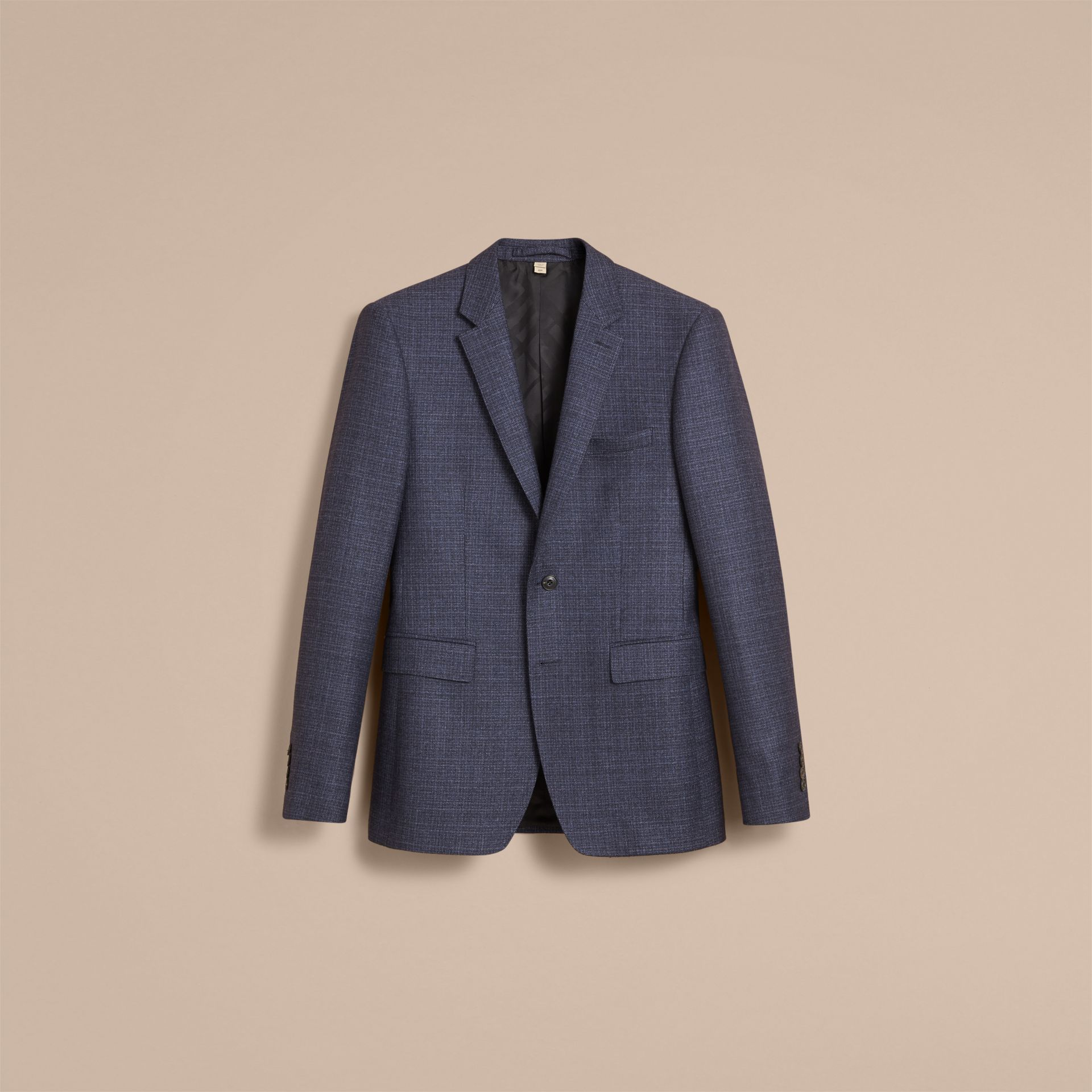 Slim Fit Lightweight Wool Part-canvas Suit in Bright Navy - Men | Burberry - gallery image 4