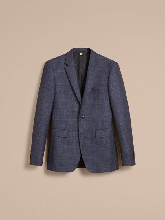 Slim Fit Lightweight Wool Part-canvas Suit in Bright Navy - Men | Burberry - cell image 3