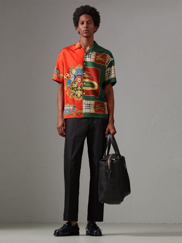 Short-sleeve Archive Scarf Print Silk Shirt in Bright Orange