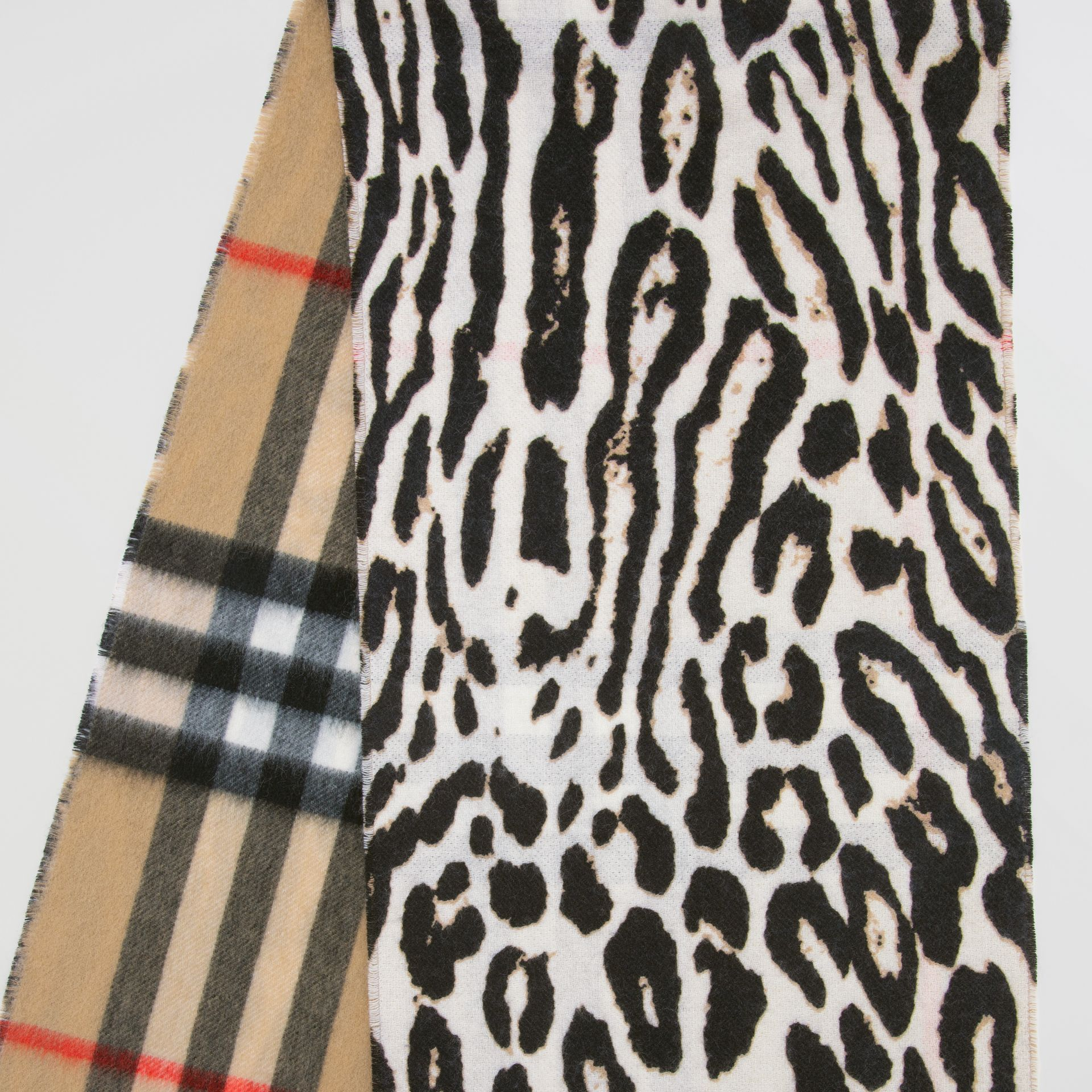 Leopard Print and Check Cashmere Scarf in Black | Burberry United States - gallery image 9