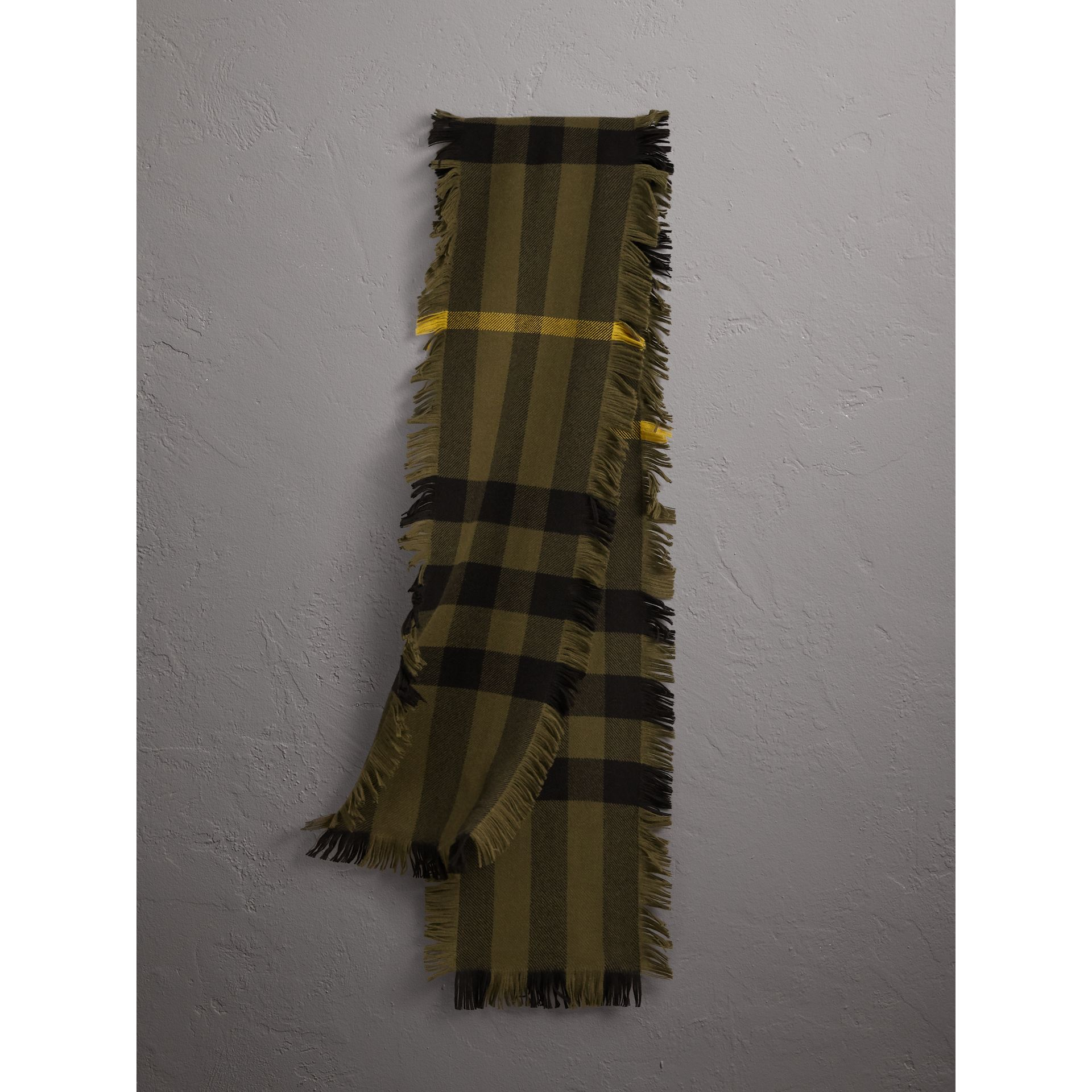 Fringed Check Wool Scarf in Military Green | Burberry - gallery image 1