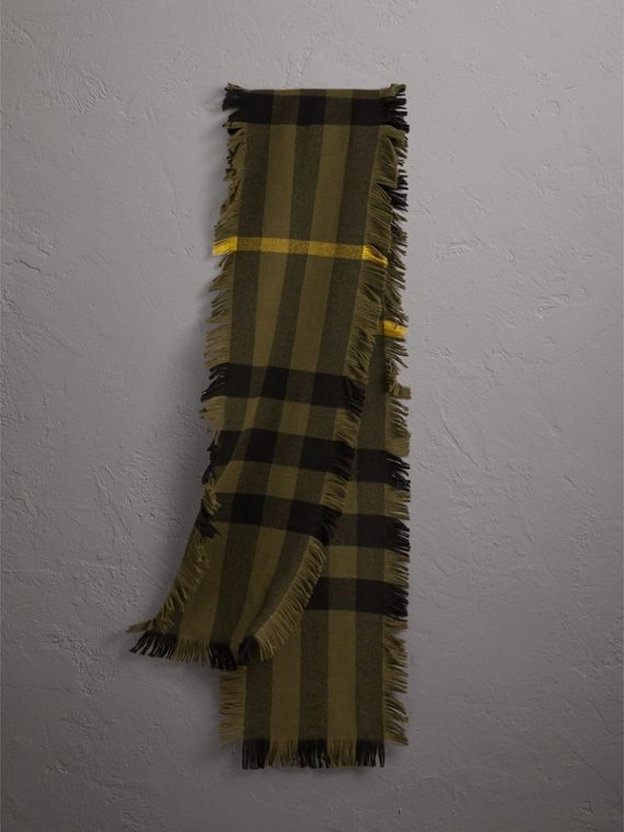 Fringed Check Wool Scarf in Military Green