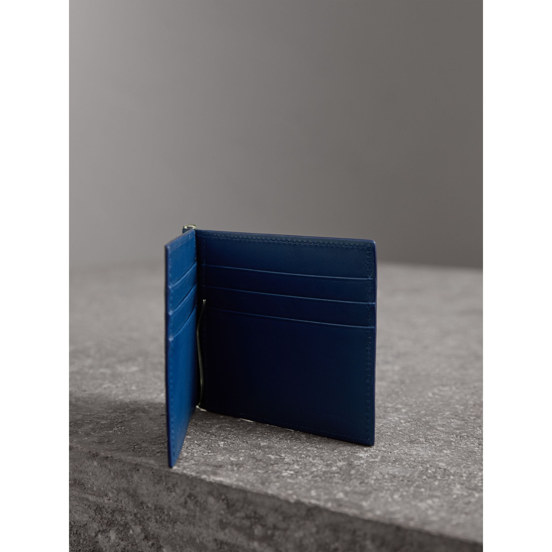 London Leather Money Clip Card Wallet in Deep Blue - Men | Burberry United Kingdom - gallery image 4