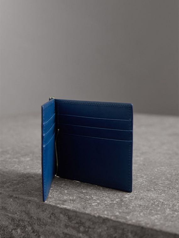 London Leather Money Clip Card Wallet in Deep Blue - Men | Burberry United Kingdom - cell image 3