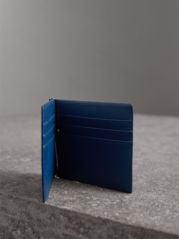 London Leather Money Clip Card Wallet in Deep Blue | Burberry United Kingdom - cell image 3