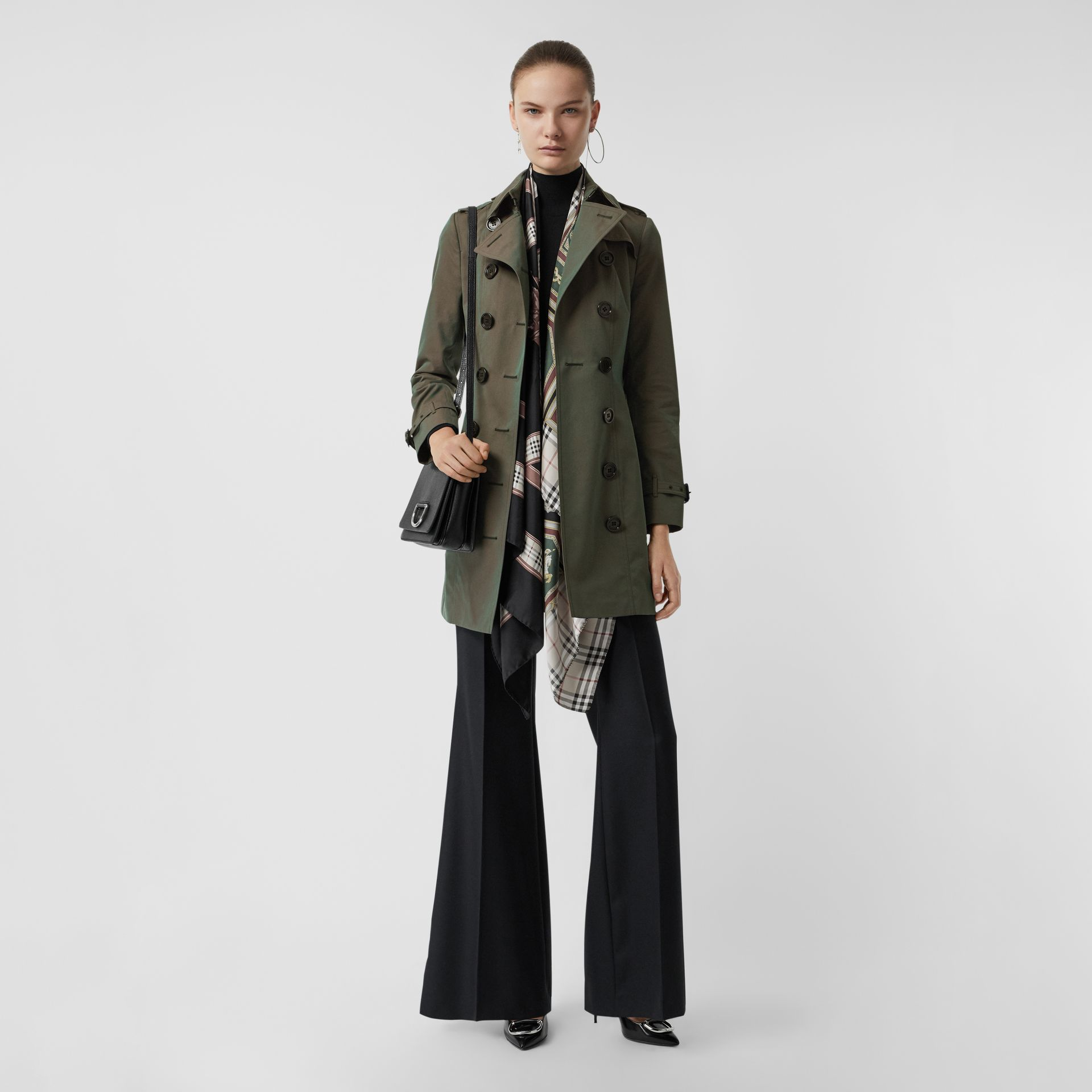 Sandringham Fit Cotton Gabardine Trench Coat in Dark Antique Green - Women | Burberry - gallery image 0