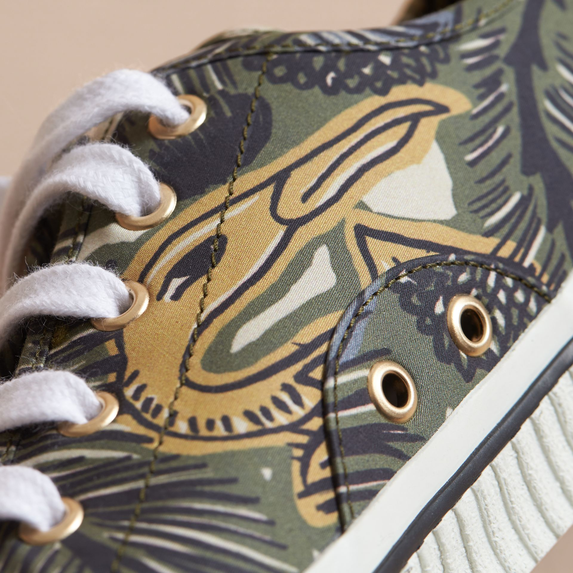 Beasts Print Stretch Cotton Trainers in Clay Green - Men | Burberry - gallery image 2