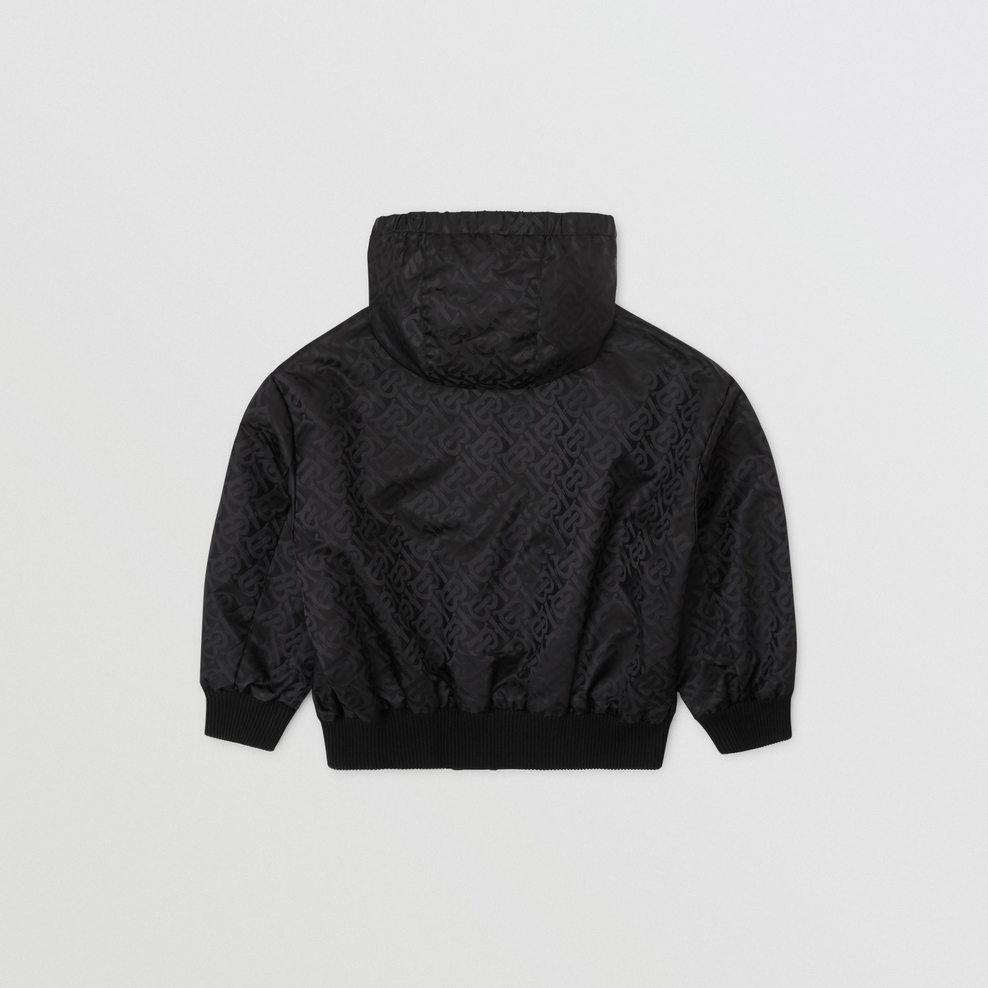 Monogram ECONYL® Hooded Jacket in Black | Burberry United Kingdom - gallery image 3