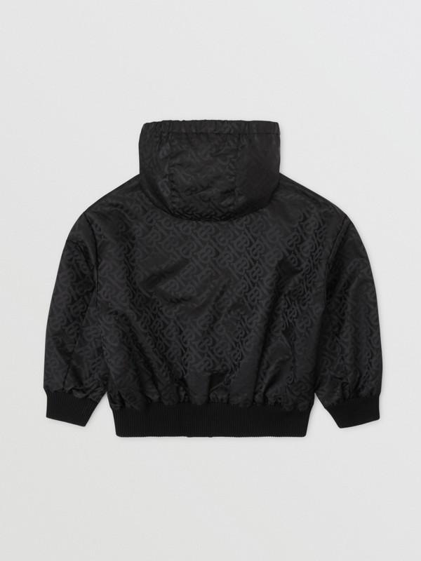 Monogram ECONYL® Hooded Jacket in Black | Burberry United Kingdom - cell image 3