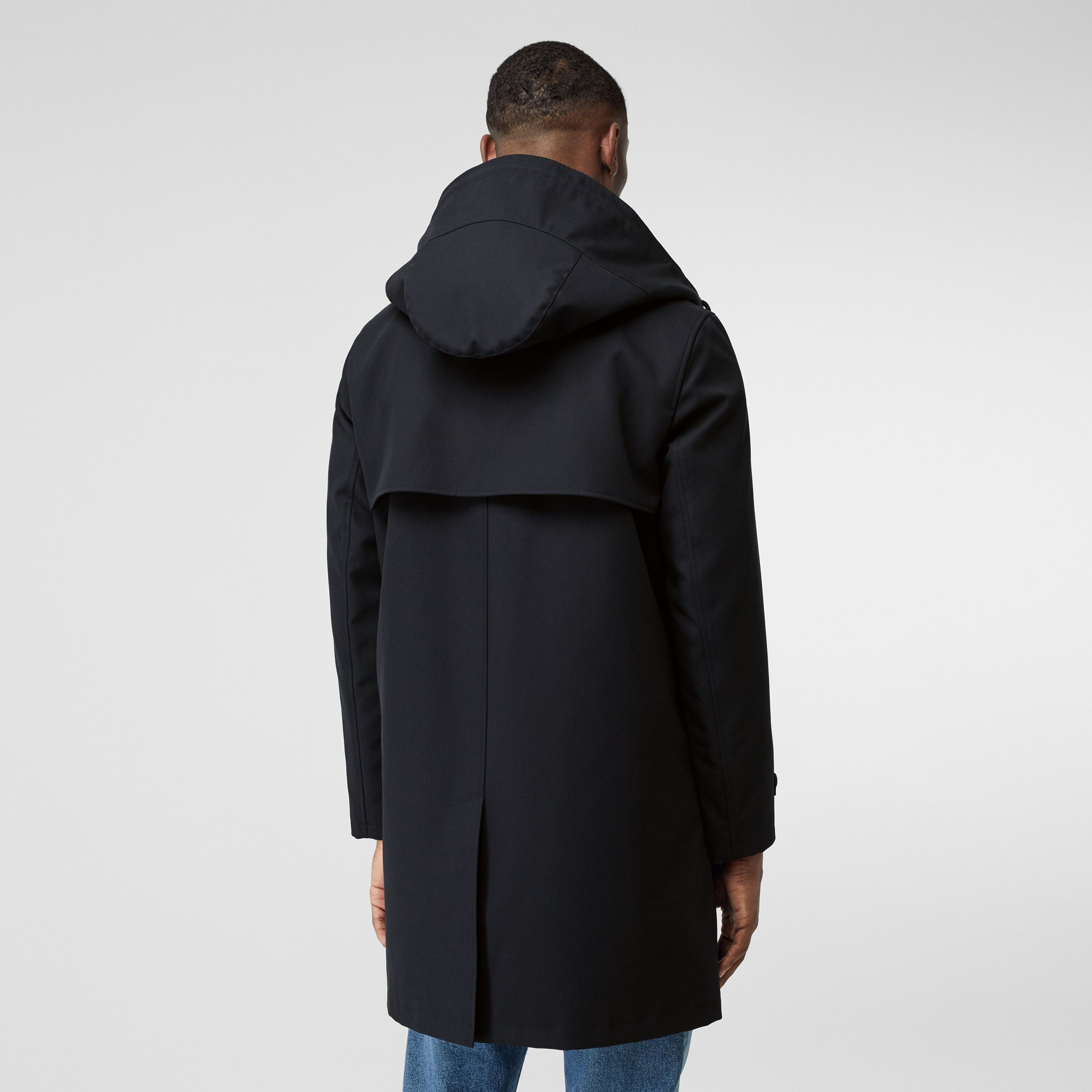 Cotton Gabardine Coat with Detachable Warmer in Midnight - Men | Burberry Canada - 3