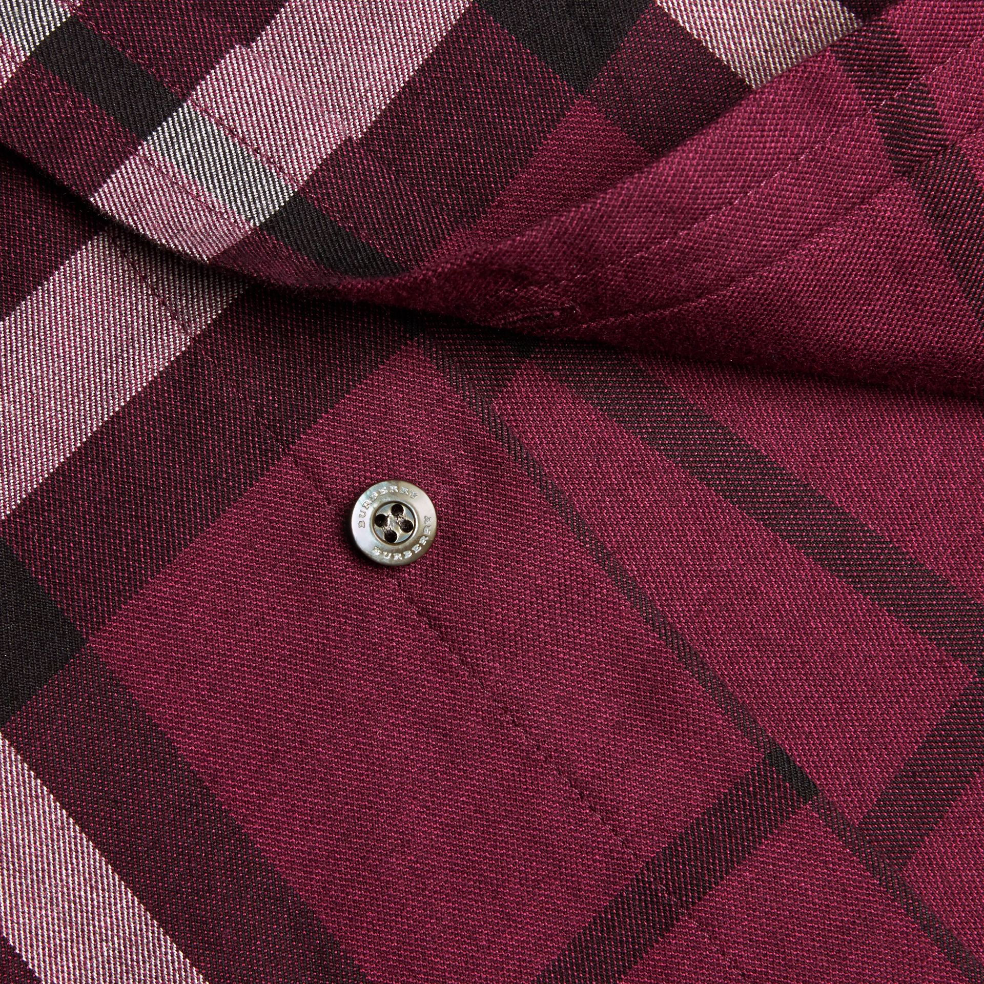 Deep claret Check Cotton Cashmere Flannel Shirt Deep Claret - gallery image 2