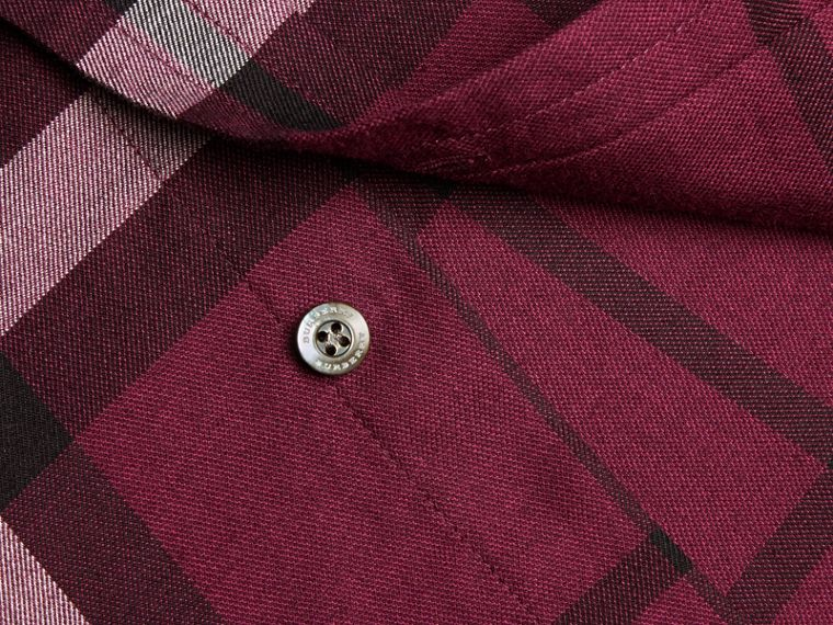 Deep claret Check Cotton Cashmere Flannel Shirt Deep Claret - cell image 1