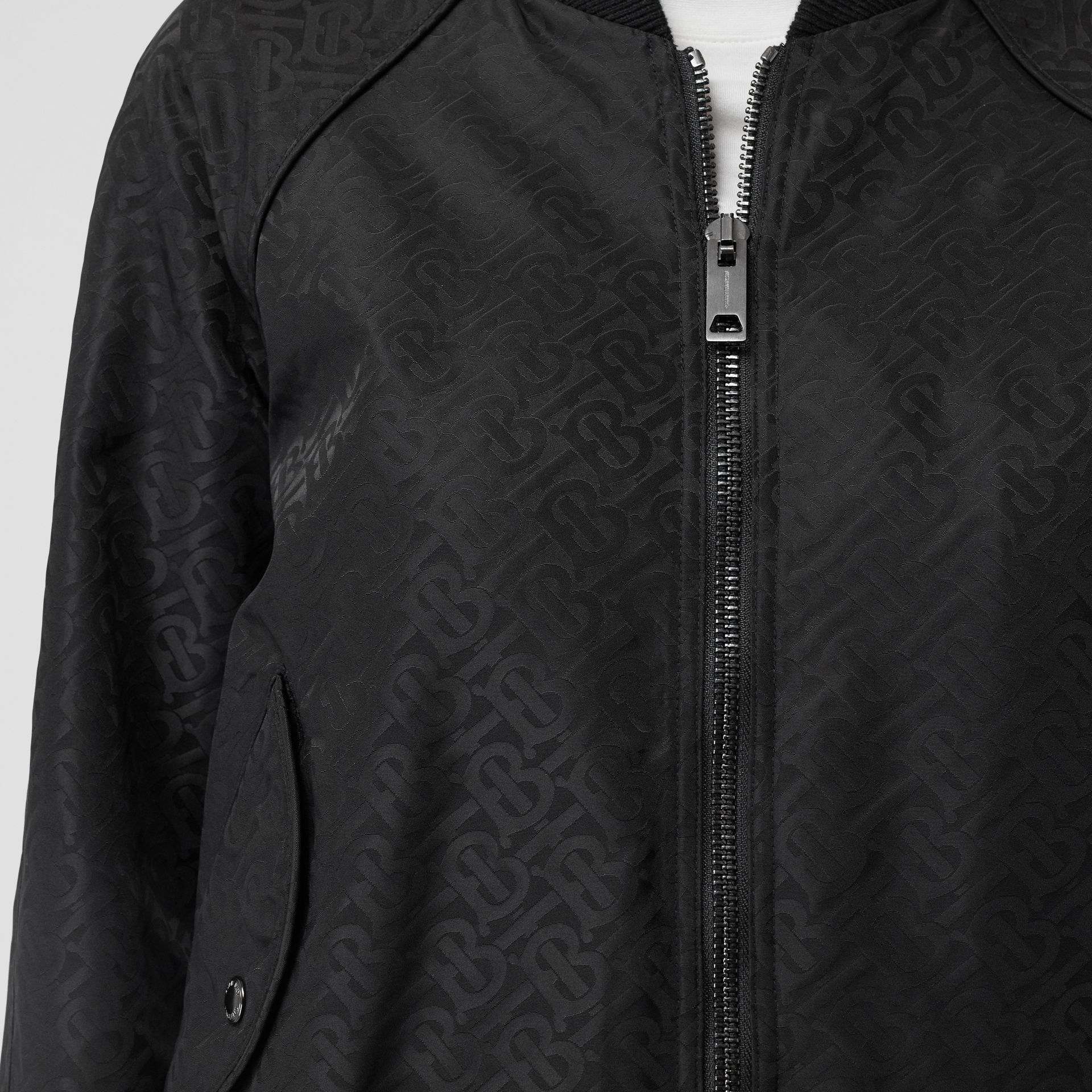 Monogram ECONYL® Jacquard Bomber Jacket in Black - Women | Burberry - gallery image 4