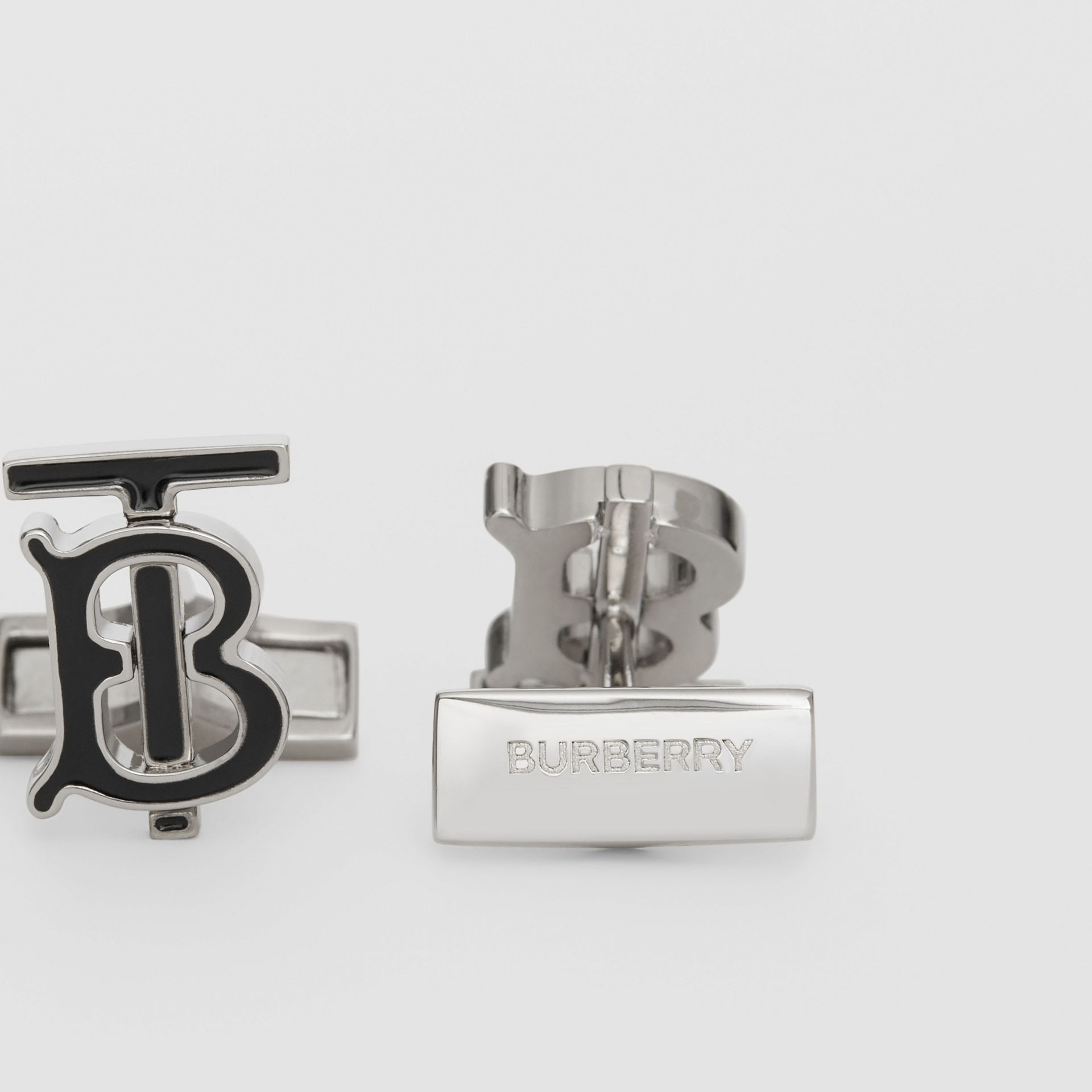 Monogram Motif Enamel and Palladium-plated Cufflinks in Palladium/black - Men | Burberry Singapore - gallery image 1