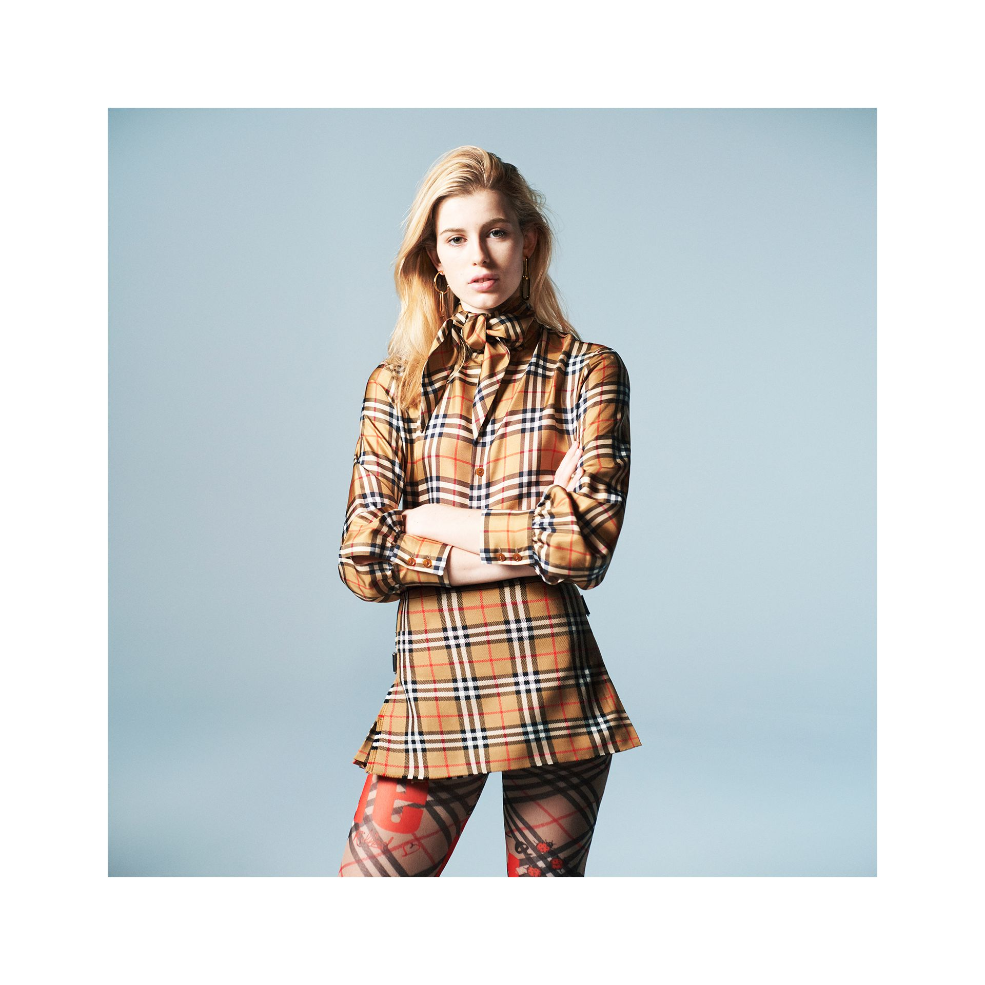 Vintage Check Wool Mini Kilt in Antique Yellow | Burberry - gallery image 5