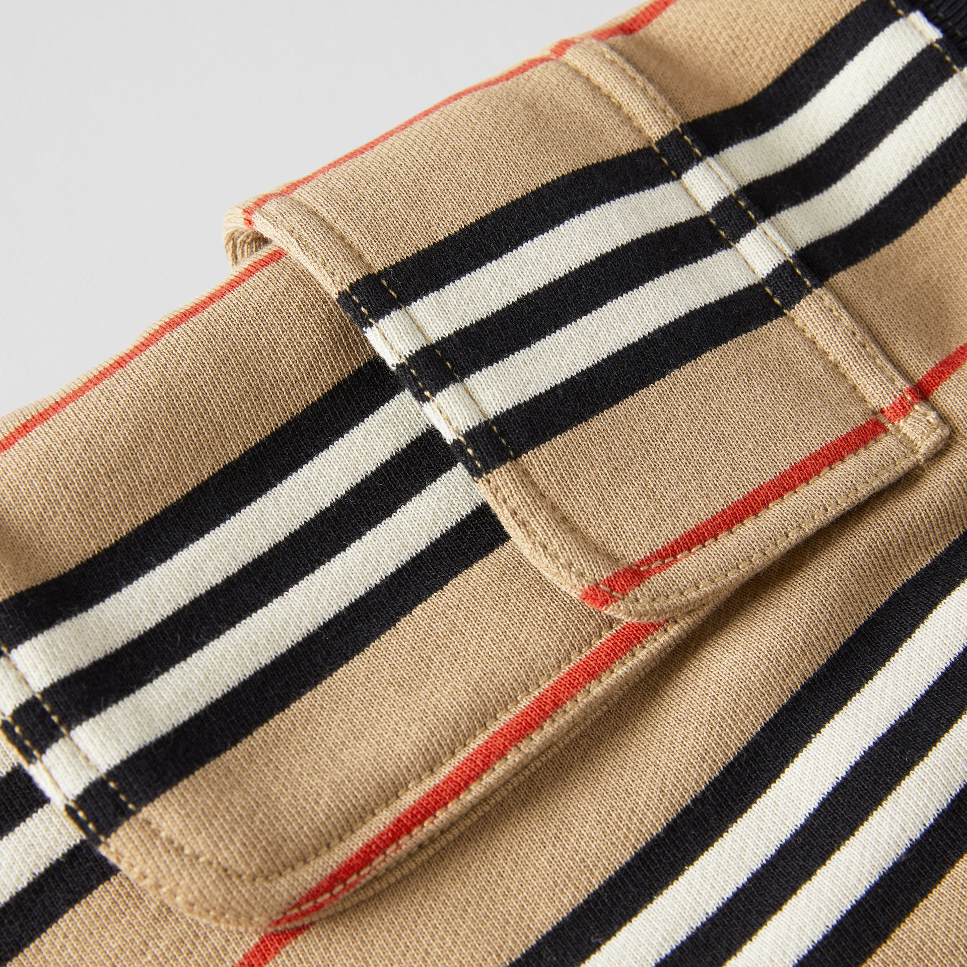 Icon Stripe Cotton Drawcord Shorts in Archive Beige | Burberry - gallery image 1