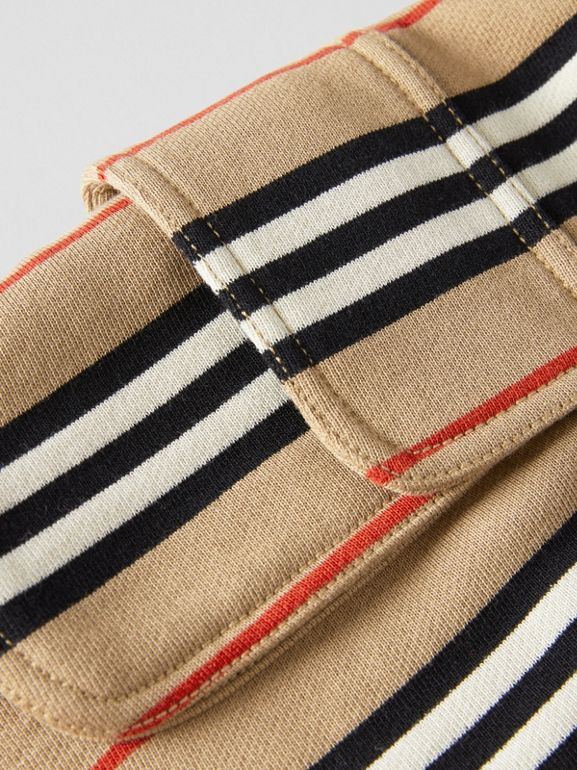 Icon Stripe Cotton Drawcord Shorts in Archive Beige | Burberry - cell image 1