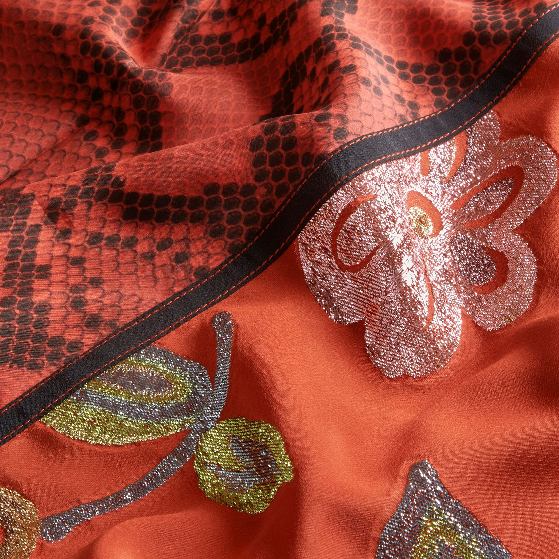 Burnt sienna Floral Fil Coupé Silk Dress - gallery image 2