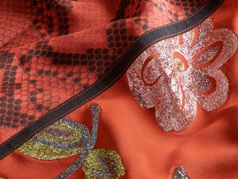 Burnt sienna Floral Fil Coupé Silk Dress - cell image 1