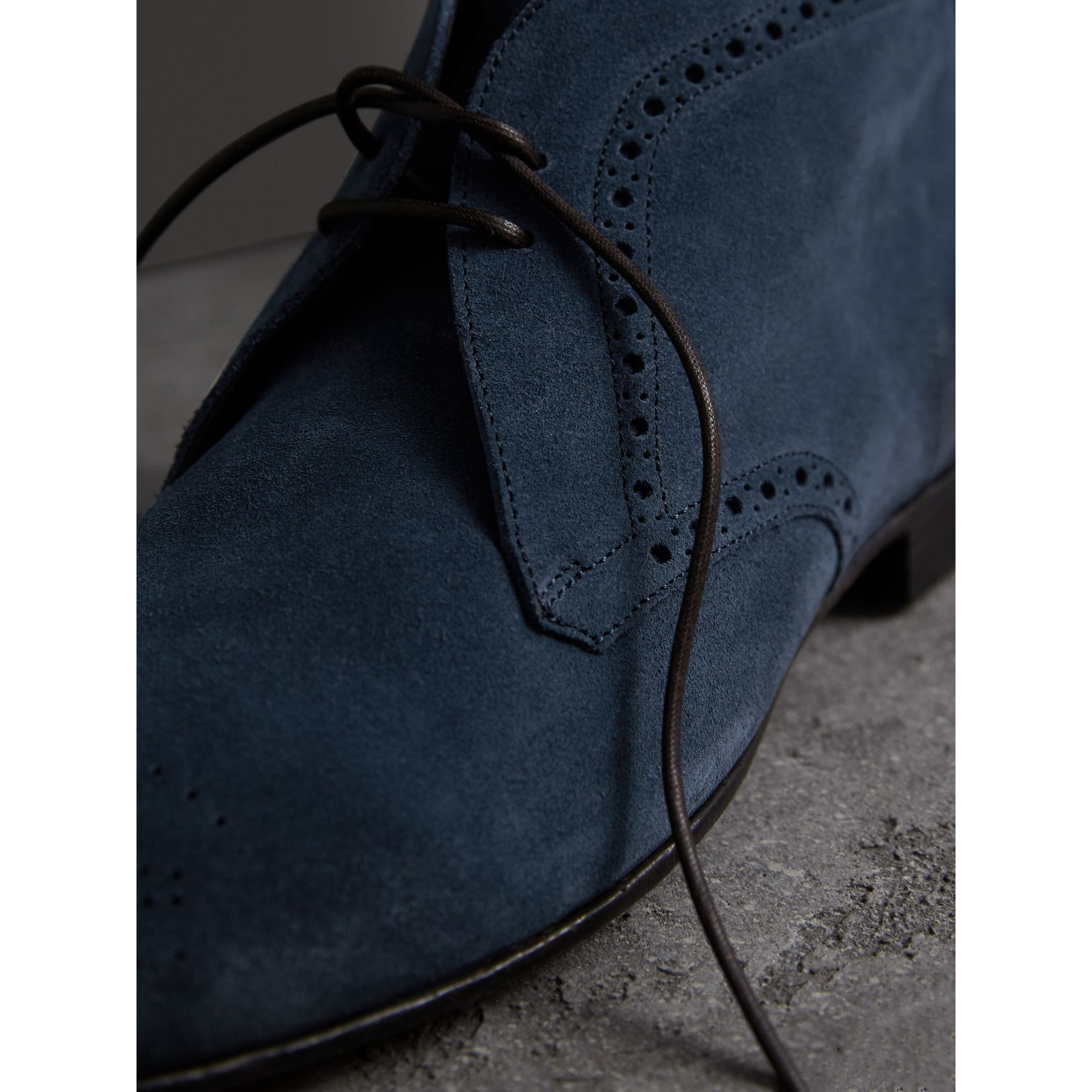 Brogue Detail Suede Desert Boots in Petrol Blue - Men | Burberry - gallery image 2