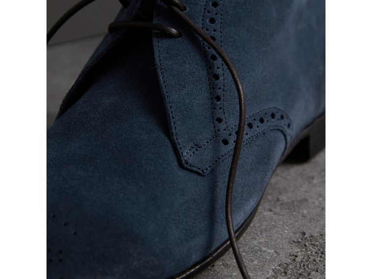 Brogue Detail Suede Desert Boots in Petrol Blue - Men | Burberry - cell image 1
