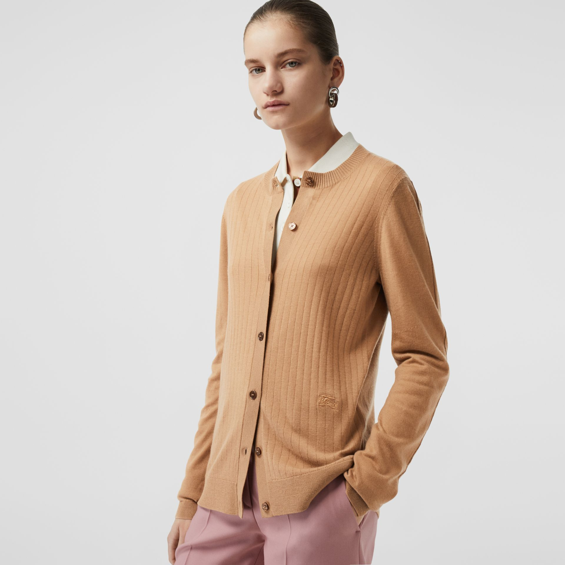 Rib Knit Cashmere Cardigan in Camel - Women | Burberry - gallery image 4