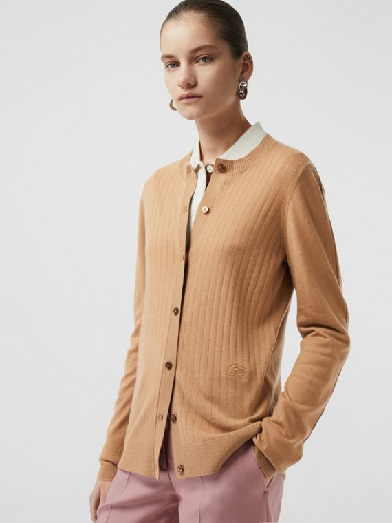 Rib Knit Cashmere Cardigan in Camel